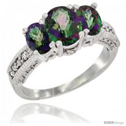 14k White Gold Ladies Oval Natural Mystic Topaz 3-Stone Ring Diamond Accent