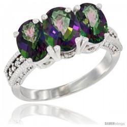 14K White Gold Natural Mystic Topaz Ring 3-Stone 7x5 mm Oval Diamond Accent