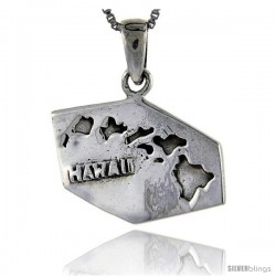 Sterling Silver Hawaii State Map Pendant, 1 1/16 in tall