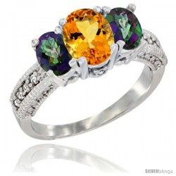 14k White Gold Ladies Oval Natural Citrine 3-Stone Ring with Mystic Topaz Sides Diamond Accent