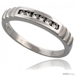Sterling Silver Men's CZ Wedding Ring Band, 5/32 in. (4 mm)