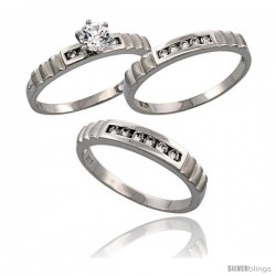 Sterling Silver 3-Piece Trio His (4 mm) & Hers (3.5 mm) CZ Wedding Ring Band Set