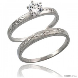 Sterling Silver 2-Piece Engagement Ring Set CZ Stones Rhodium finish, 3/16 in. 4.5 mm