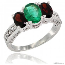 14k White Gold Ladies Oval Natural Emerald 3-Stone Ring with Garnet Sides Diamond Accent