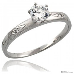 Sterling Silver Engagement Ring CZ Stones 1/8 in. 3 mm