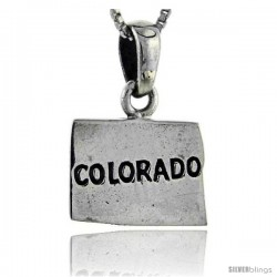 Sterling Silver Colorado State Map Pendant, 3/4 in tall