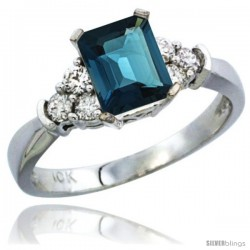 10K White Gold Natural London Blue Topaz Ring Emerald-shape 7x5 Stone Diamond Accent