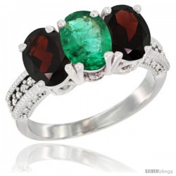 14K White Gold Natural Emerald & Garnet Sides Ring 3-Stone 7x5 mm Oval Diamond Accent