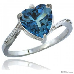 10K White Gold Natural London Blue Topaz Ring Heart-shape 9x9 Stone Diamond Accent