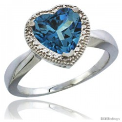 10K White Gold Natural London Blue Topaz Ring Heart-shape 8x8 Stone Diamond Accent