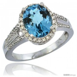 10K White Gold Natural London Blue Topaz Ring Oval 10x8 Stone Diamond Accent