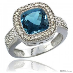 10K White Gold Natural London Blue Topaz Ring Cushion-cut 9x9 Stone Diamond Accent