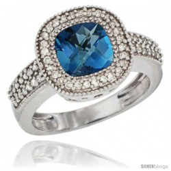 10K White Gold Natural London Blue Topaz Ring Cushion-cut 7x7 Stone Diamond Accent