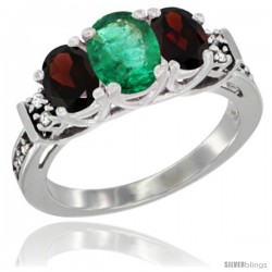 14K White Gold Natural Emerald & Garnet Ring 3-Stone Oval with Diamond Accent