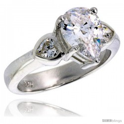 Sterling Silver 1.5 Carat Size Pear Cut Cubic Zirconia Bridal Ring