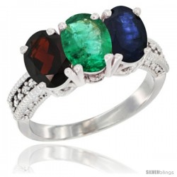 14K White Gold Natural Garnet, Emerald & Blue Sapphire Ring 3-Stone 7x5 mm Oval Diamond Accent