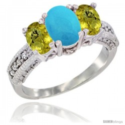 14k White Gold Ladies Oval Natural Turquoise 3-Stone Ring with Lemon Quartz Sides Diamond Accent