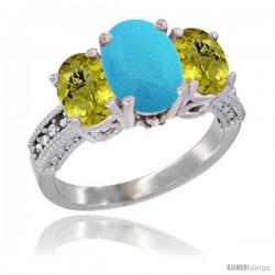 14K White Gold Ladies 3-Stone Oval Natural Turquoise Ring with Lemon Quartz Sides Diamond Accent