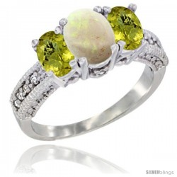 14k White Gold Ladies Oval Natural Opal 3-Stone Ring with Lemon Quartz Sides Diamond Accent