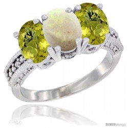 14K White Gold Natural Opal Ring with Lemon Quartz 3-Stone 7x5 mm Oval Diamond Accent