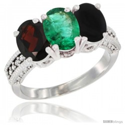 14K White Gold Natural Garnet, Emerald & Black Onyx Ring 3-Stone 7x5 mm Oval Diamond Accent