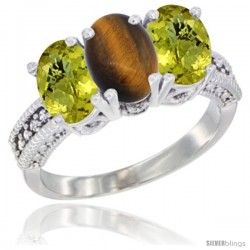 14K White Gold Natural Tiger Eye Ring with Lemon Quartz 3-Stone 7x5 mm Oval Diamond Accent