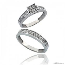 14k White Gold 2-Piece Diamond Ring Set ( Engagement Ring & Man's Wedding Band ), w/ 0.24 Carat Brilliant Cut Diamonds, 5/32