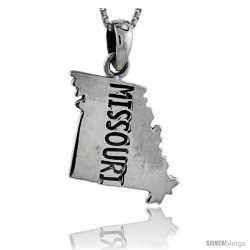 Sterling Silver Missouri State Map Pendant, 1 1/16 in tall