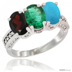 14K White Gold Natural Garnet, Emerald & Turquoise Ring 3-Stone 7x5 mm Oval Diamond Accent