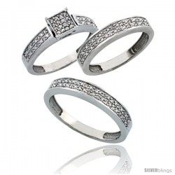 14k White Gold 3-Piece Trio His (4mm) & Hers (4mm) Diamond Wedding Band Set, w/ 0.34 Carat Brilliant Cut Diamonds