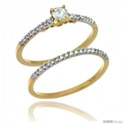 14k Gold 2-Pc Diamond Engagement Ring Set w/ 0.30 Carat Brilliant Cut ( H-I Color VS2-SI1 Clarity ) Diamonds, 1/8 in. (3mm)