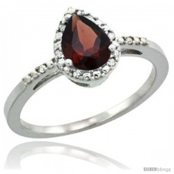 14k White Gold Diamond Garnet Ring 0.59 ct Tear Drop 7x5 Stone 3/8 in wide