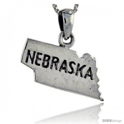 Sterling Silver Nebraska State Map Pendant, 3/4 in tall