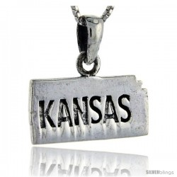 Sterling Silver Kansas State Map Pendant, 3/4 in tall