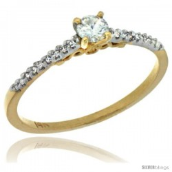 14k Gold Diamond Engagement Ring w/ 0.24 Carat Brilliant Cut ( H-I Color VS2-SI1 Clarity ) Diamonds, 1/16 in. (2mm) wide