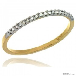 14k Gold 1mm Diamond Ring Band w/ 0.06 Carat Brilliant Cut ( H-I Color VS2-SI1 Clarity ) Diamonds
