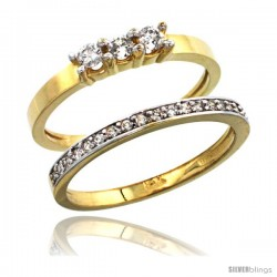 14k Gold 2-Pc. Diamond Engagement Ring Set w/ 0.40 Carat Brilliant Cut ( H-I Color VS2-SI1 Clarity ) Diamonds, 3/16 in (5mm)