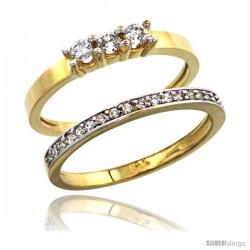 14k Gold 2-Pc. Diamond Engagement Ring Set w/ 0.40 Carat Brilliant Cut ( H-I Color VS2-SI1 Clarity ) Diamonds, 3/16 in (5mm)