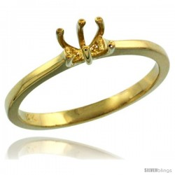 14k Gold Semi Mount (for 5.5mm Round Diamond) Engagement Ring 1/16 in. (2mm) wide