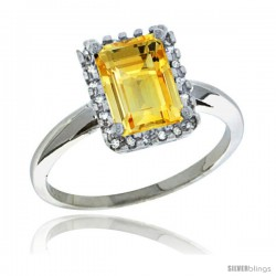 Sterling Silver Diamond Natural Citrine Ring 1.6 ct Emerald Shape 8x6 mm, 1/2 in wide