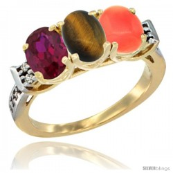 10K Yellow Gold Natural Ruby, Tiger Eye & Coral Ring 3-Stone Oval 7x5 mm Diamond Accent