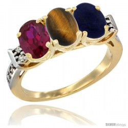 10K Yellow Gold Natural Ruby, Tiger Eye & Lapis Ring 3-Stone Oval 7x5 mm Diamond Accent
