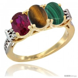 10K Yellow Gold Natural Ruby, Tiger Eye & Malachite Ring 3-Stone Oval 7x5 mm Diamond Accent