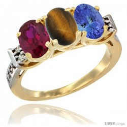 10K Yellow Gold Natural Ruby, Tiger Eye & Tanzanite Ring 3-Stone Oval 7x5 mm Diamond Accent