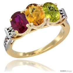 10K Yellow Gold Natural Ruby, Whisky Quartz & Lemon Quartz Ring 3-Stone Oval 7x5 mm Diamond Accent