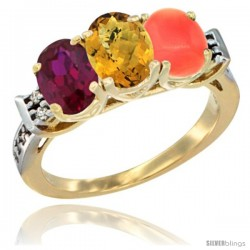 10K Yellow Gold Natural Ruby, Whisky Quartz & Coral Ring 3-Stone Oval 7x5 mm Diamond Accent