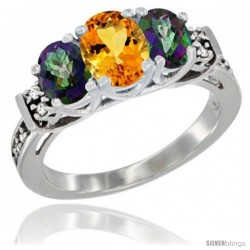 14K White Gold Natural Citrine & Mystic Topaz Ring 3-Stone Oval with Diamond Accent