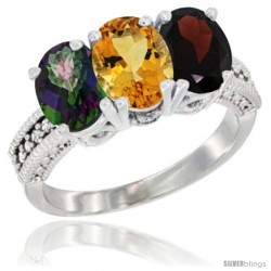 14K White Gold Natural Mystic Topaz, Citrine & Garnet Ring 3-Stone 7x5 mm Oval Diamond Accent