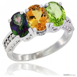 14K White Gold Natural Mystic Topaz, Citrine & Peridot Ring 3-Stone 7x5 mm Oval Diamond Accent