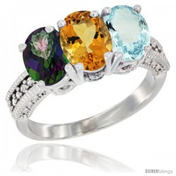 14K White Gold Natural Mystic Topaz, Citrine & Aquamarine Ring 3-Stone 7x5 mm Oval Diamond Accent